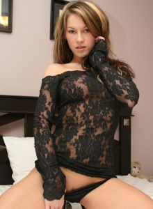 Kate gets naked in black lace from Kate's Playground