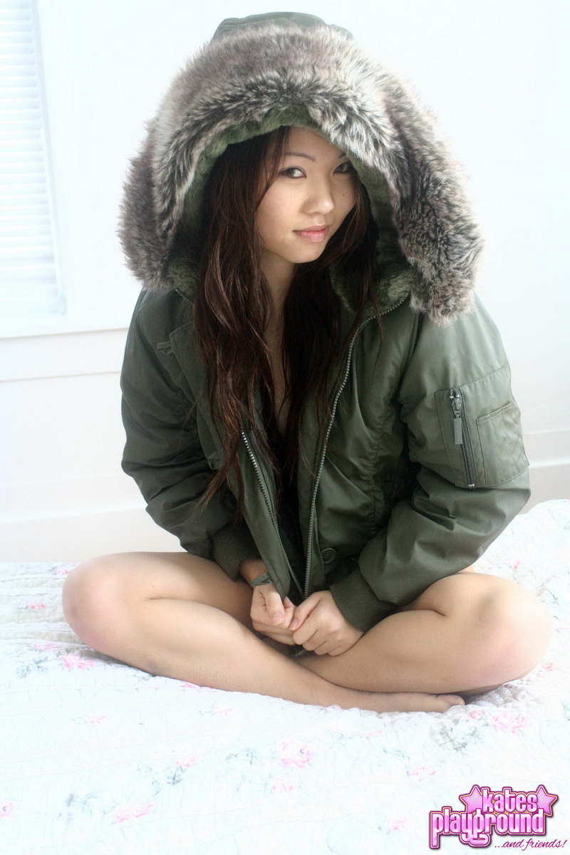 Kates petite girlfriend Grace teases wearing just a tiny thong and a big fluffy winter jacket