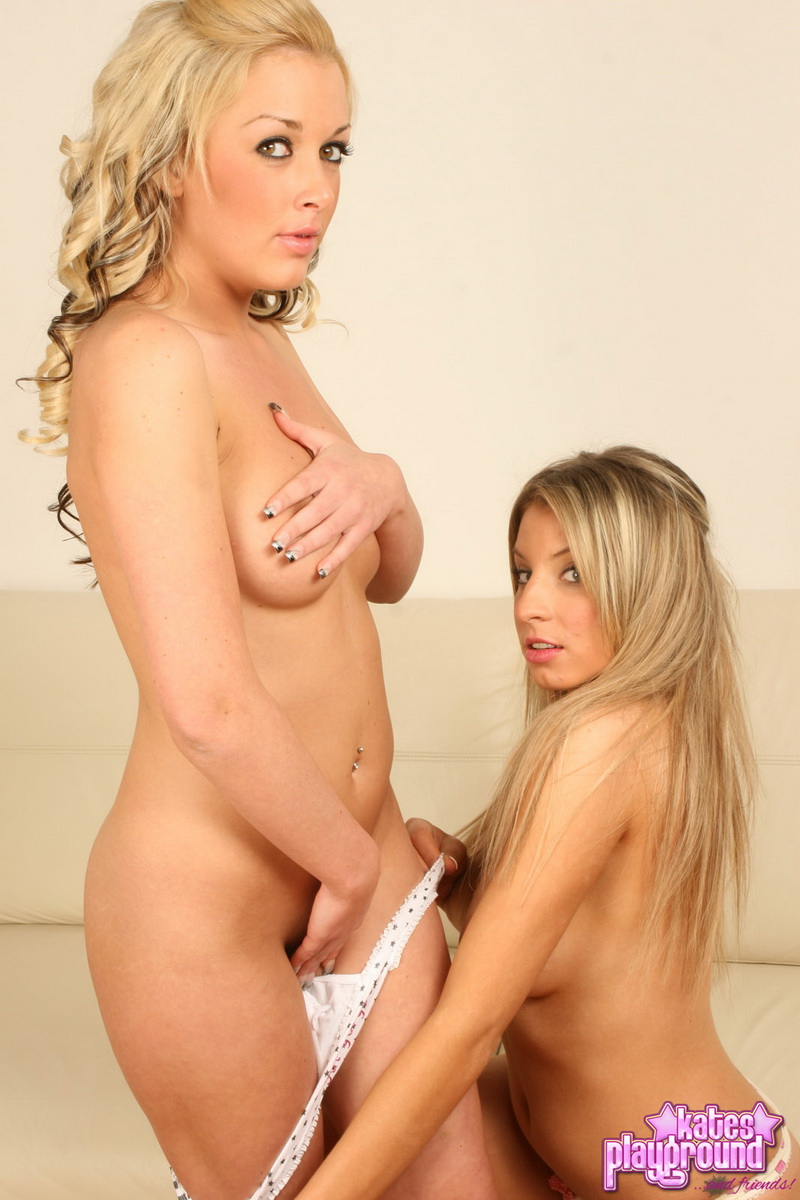 Kates sexy blonde girlfriends Brooke and Lisa love to tease as they strip each other naked