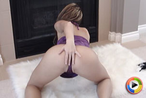 Watch as a very sexy Kate teases in her purple satin lingerie from Kate's Playground